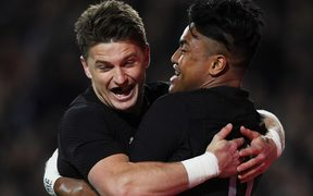 Beauden Barrett congratulates on scoring for the All Blacks against Argentina.
