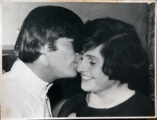 John Lennon meeting his second cousin, Lynda Mathews, at the Hotel St George, Wellington.