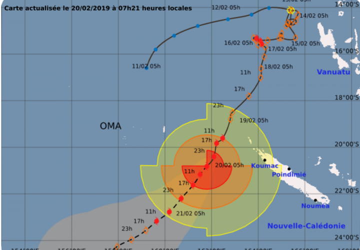 The tracking map for Cyclone Oma at 7am February 20, 2019