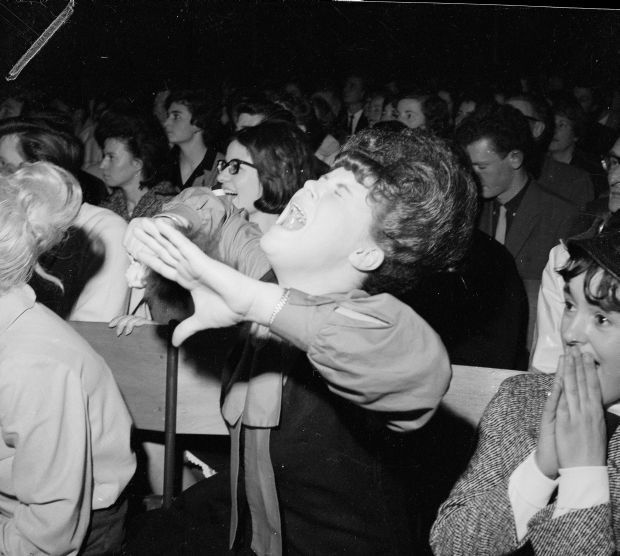Fans during Beatles concert at Wellington Town Hall.