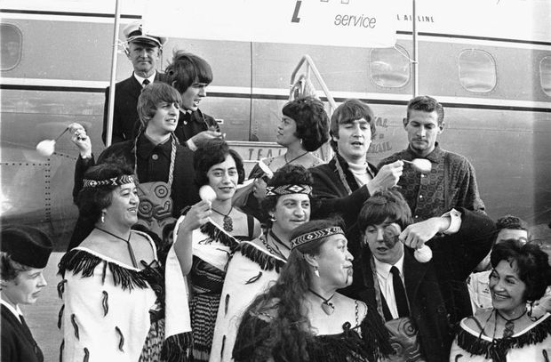 The Beatles and members of the Te Pataka concert party at Wellington Airport, 21 June 1964.
