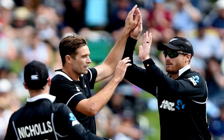 Tim Southee celebrates taking a wicket against Bangladesh.