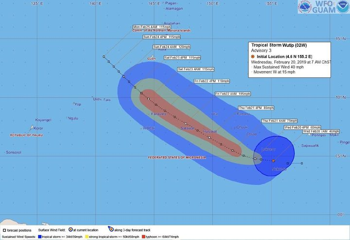 Tropical Storm Wutip tracking map from Guam's met service