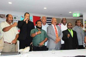 OPM Free West Papua Movement members alongside two PNG MPs at a press conference in Port Moresby, February 2019.