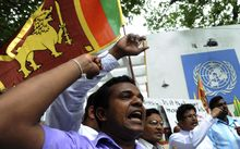 Sri Lankan demonstrators protested at the UN in 2010 against the appointment of war crimes panel.
