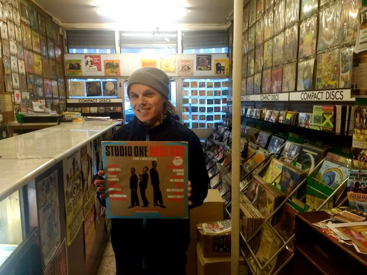 Garth pictured in a Brixton based reggae record shop