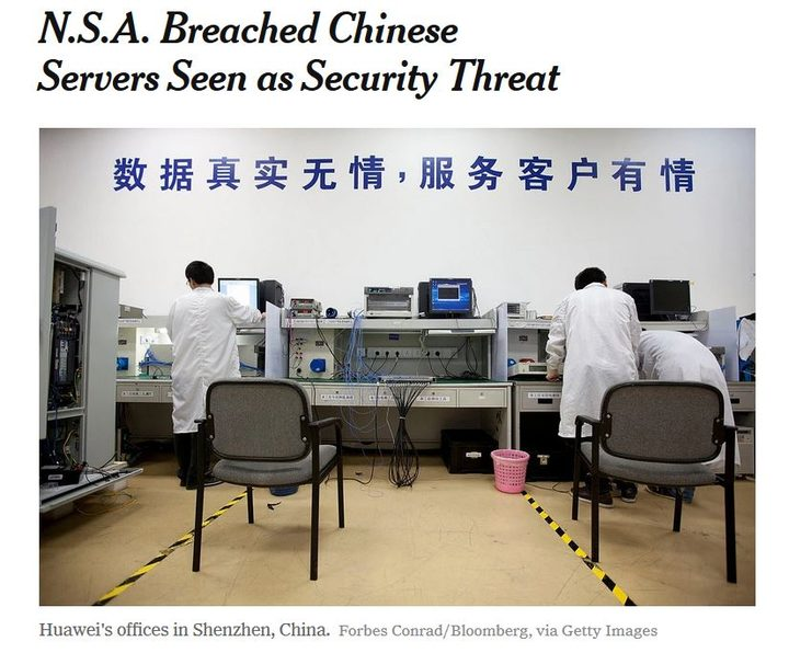 New York Times report on NSA hacking of Huawei