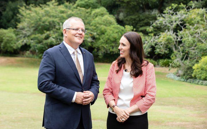 澳大利亚总理斯科特莫里森与新西兰总理Jacinda Ardern在奥克兰政府大楼举行会议