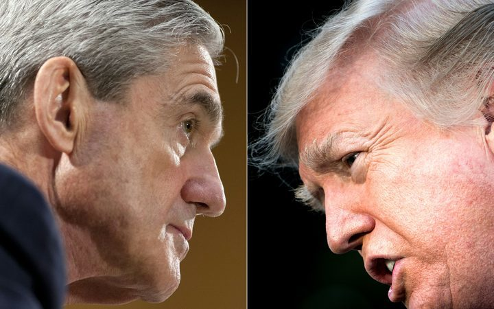 Robert Mueller (L) and Donald Trump