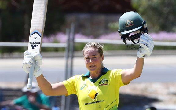 Australia's Ellyse Perry celebrates her century.