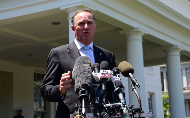 John Key addresses NZ and international media outside West Wing of White House