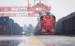 A freight train from Germany arrives at a railway station in Wuhan, central China.