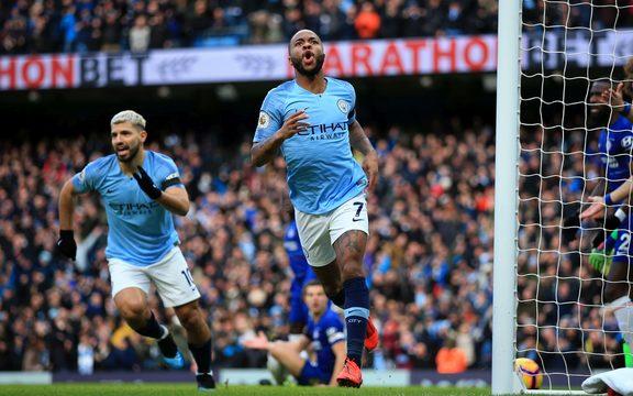 Raheem Sterling of Manchester City celebrates after scoring..