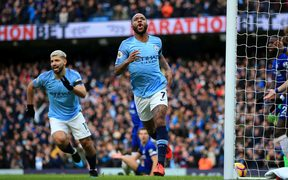Raheem Sterling of Manchester City celebrates after scoring..