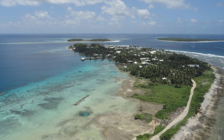 Most islands in atoll nations, such as in this aerial view of Jaluit in the Marshall Islands, are as little as two meters above sea level and threatened by climate change.