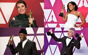 Oscars winner (clockwise from top left) Olivia Coleman, Regina King, Alfonso Cuaron and Mahershala Ali.