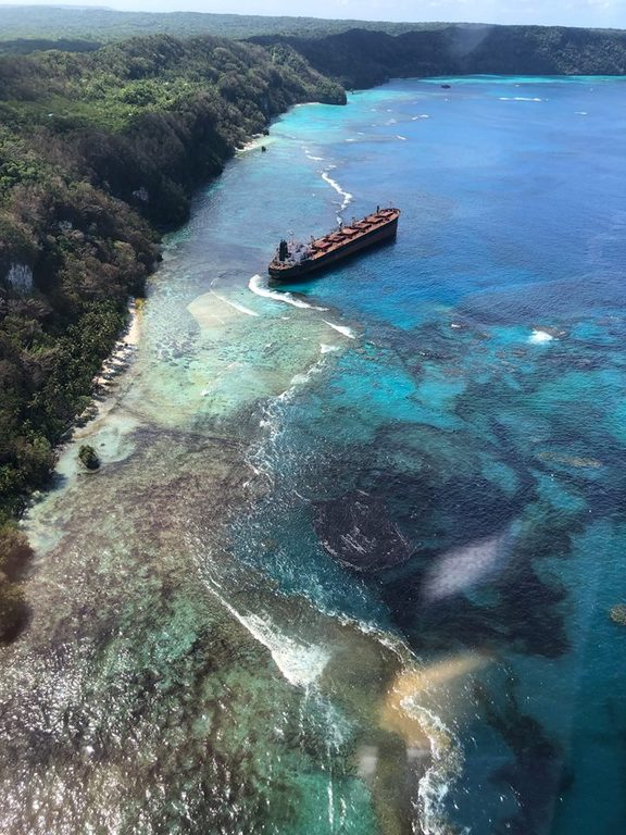 Oil spill from the reef wrecked MV Solomon Trader is spreading up and down the coast of East Rennell.