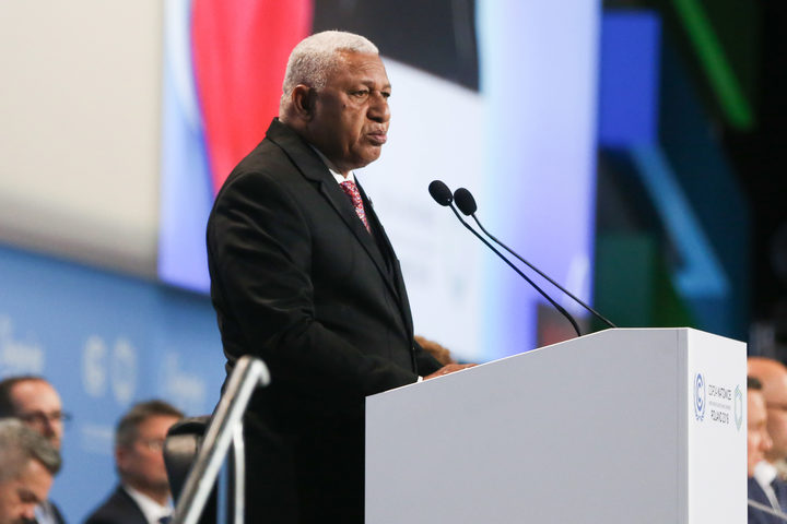 斐济总理弗兰克·拜尼马拉马,在第24届缔约方会议开幕式上,第24届联合国气候变化框架公约缔约方会议。