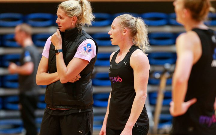 Co-captains Kopua and Langman at Silver Ferns training