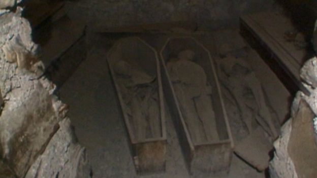 The discovery was made as a tour guide was preparing to open the church for visitors on Monday