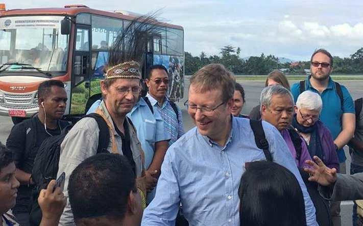 Members of a team from the World Council of Churches allowed by Indonesia to visit Papua province in 2019.