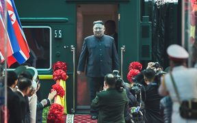 North Korean leader Kim Jong-un arrives at Dong Dang railway station, Vietnam, on his way to the second US-North Korea summit.