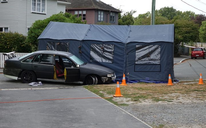 The scene of the shooting in Christchurch.