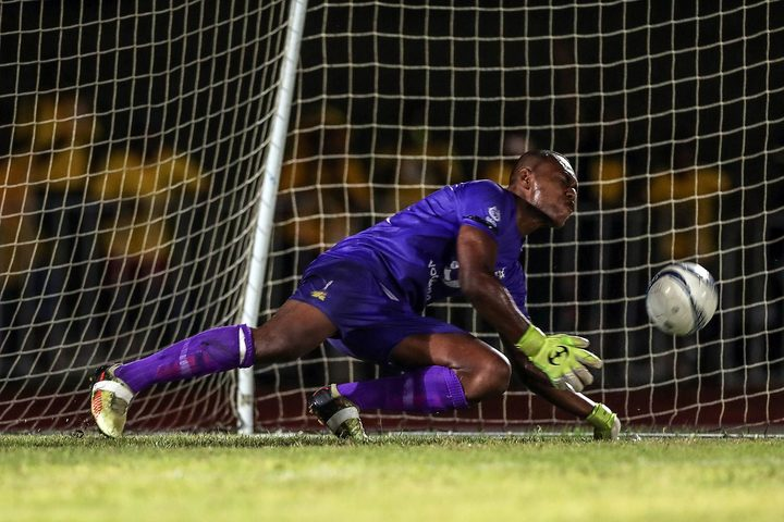 Ba goalkeeper Misiwani Nairube saves a penalty in stoppage time.