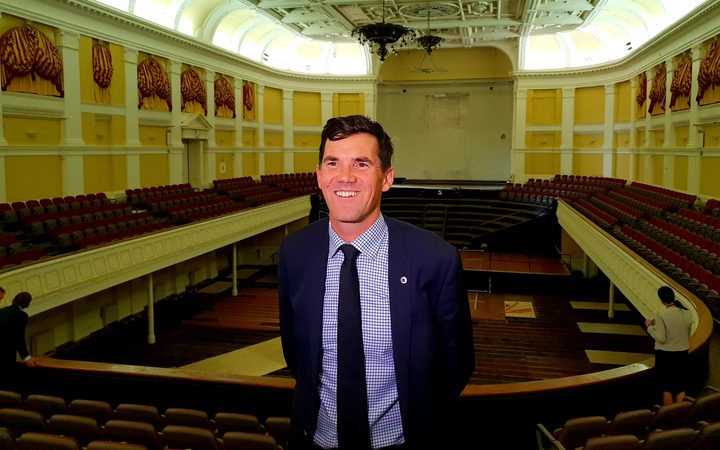 Wellington mayor Justin Lester in the town hall.
