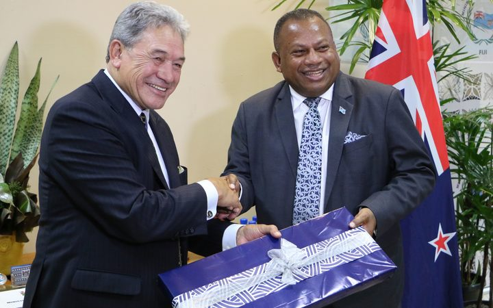 Winston Peters and Fiji Foreign Affairs and Defence Minister Inia Seruiratu.