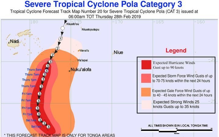 Tropical Cyclone Pola - track map 6am Feb 28