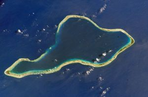 A satellite image of Mururoa atoll, French Polynesia