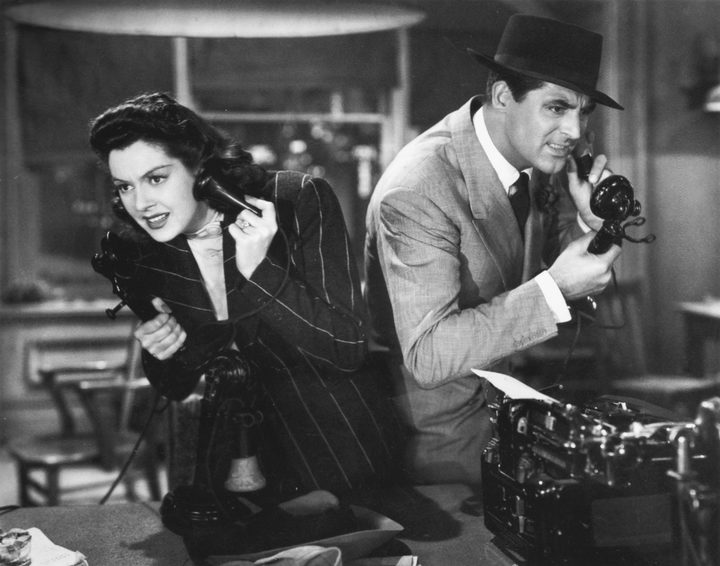 Rosalind Russell and Cary Grant sparring in Hawks' His Girl Friday.
