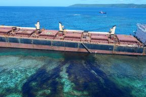 Oil leaking from the bulk carrier MV Solomon Trader that ran aground on Rennell Island in the Solomons.