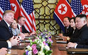 US President Donald Trump (L) and North Korea's leader Kim Jong Un (R) hold a bilateral meeting during the second US-North Korea summit at the Sofitel Legend Metropole hotel in Hanoi on February 28, 2019.