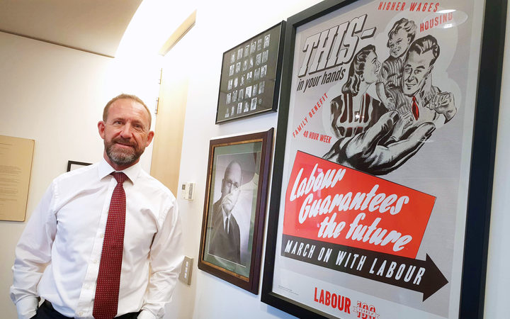 Andrew Little beside picture of his idol former PM, Peter Fraser.