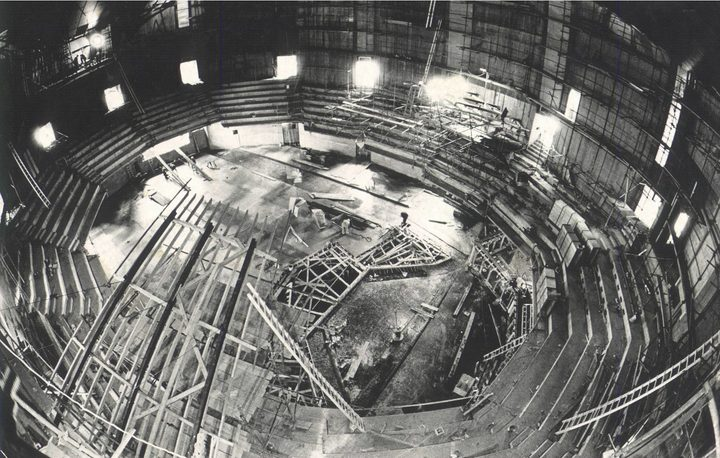 Christchurch Town Hall auditorium during construction