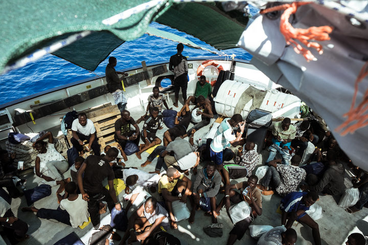 Migrants on the Aquarius on 11 September 2016, when 252 migrants from two rubber boats in distress were rescued. Most of the refugees are from Nigeria, Guinea-Conakry, Mali and Ghana. From February 2016 to October the same year, the team rescued more than 6000 people.
