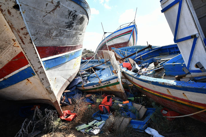 The so-called boat cemetery in Lampedusa, where skiffs are dumped after migrants and refugees' crossings from North Africa.