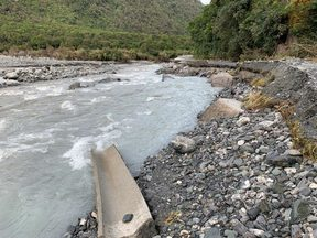 Damage to the Fox Glacier access road from a landslide.