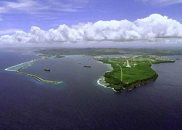 The US Naval base at Orote Peninsula, Guam