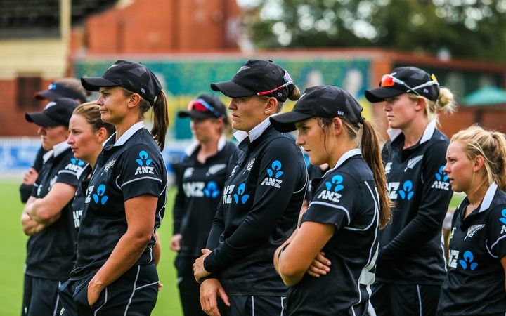 The New Zealand women's cricket team after a loss to Australia 2019.