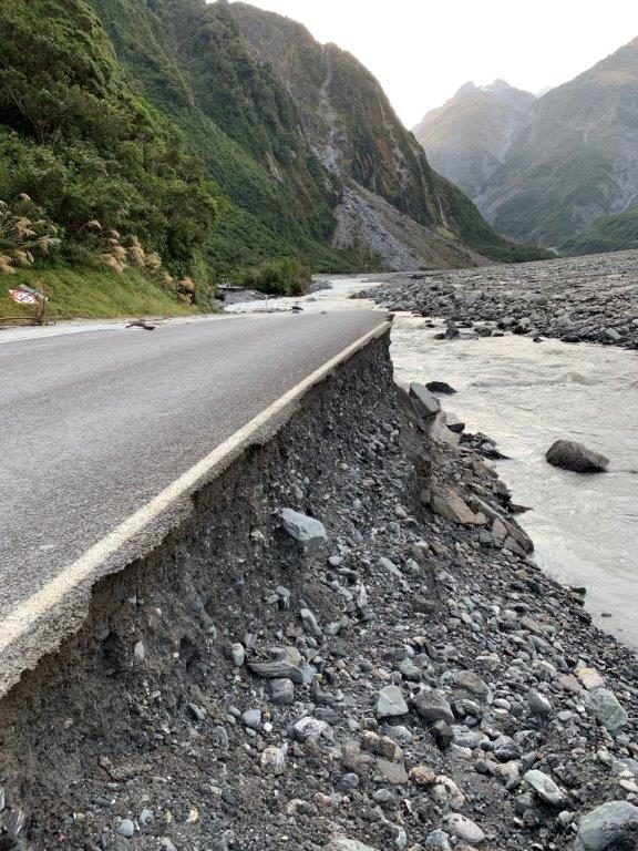 The access road to Fox glacier was washed out on February 22 by a landslide.