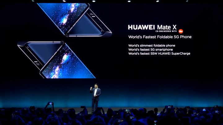 Richard Yu Chengdong, CEO of Huawei, introduces the first 5G foldable smartphone Huawei Mate X at the launch event during the Mobile World Congress 2019.