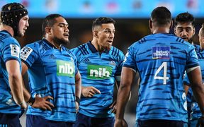 The Blues in a team huddle during Super Rugby.