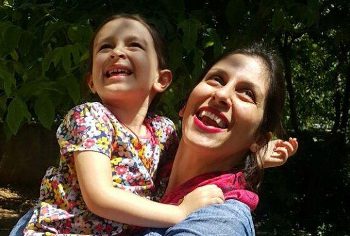 (FILES) This file handout picture released by the Free Nazanin campaign on August 23, 2018 shows Nazanin Zaghari-Ratcliffe (R) embracing her daughter Gabriella in Damavand, Iran following her release from prison for three days.