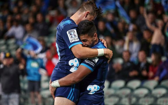 Blues Rieko Ioane celebrates after another try during the Super Rugby match between the Blues and the Sunwolves in Auckland.