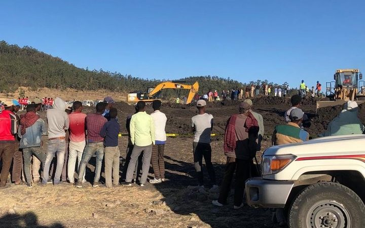 Teams continue the debris removal operation at the crash site of Ethiopia Airlines near Debre Zeit, a town some 50 kilometres south of Addis Ababa, Ethiopia, on March 10, 2019.