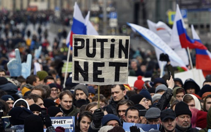 Thousands of people are protesting Russia's new internet bill