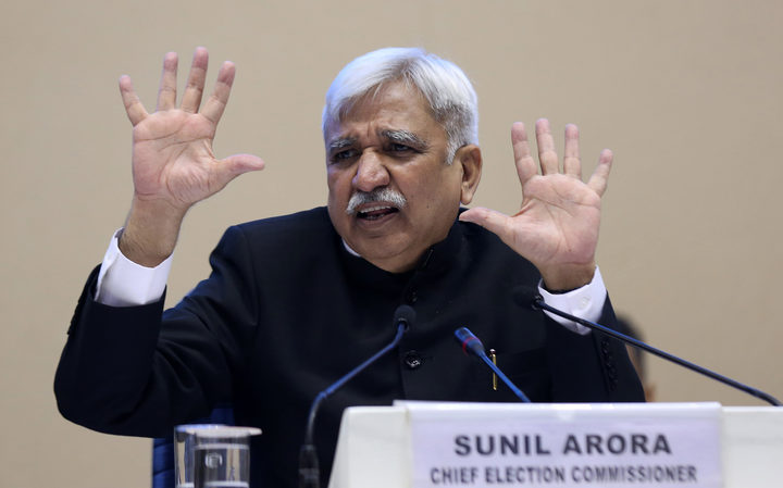 India's Chief Election Commissioner Sunil Arora speaks during a press conference in New Delhi on March 10, 2019